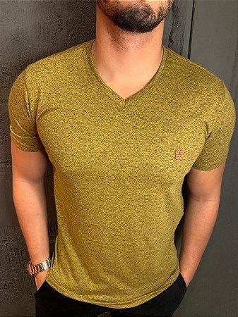 "Camiseta Melange Gola ""V"" Filho Rico - Amarela"