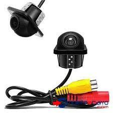 Câmera de Ré Automotiva 2x1 Parachoque Borboleta Visão Noturna First Option Universal Flex Preta