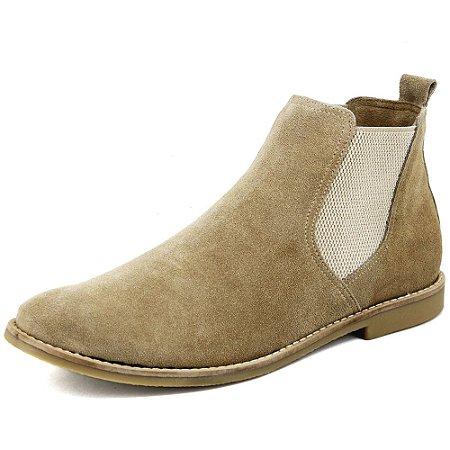 Botina Chelsea Boots Areia Em Couro Camurça