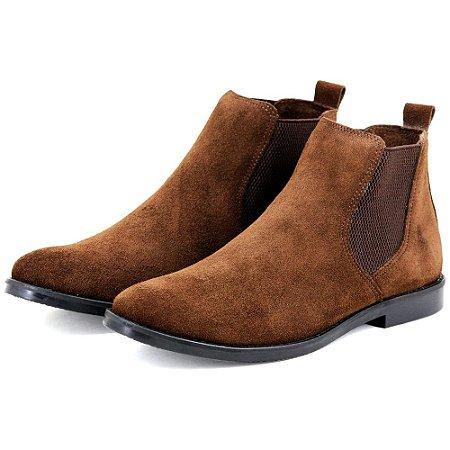 Botina Chelsea Boots Marrom Sola Preta