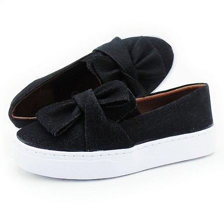Slip On feminino jeans preto com laço