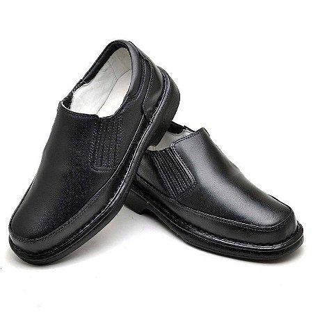 Sapato Anti Stress em Couro Legítimo Preto