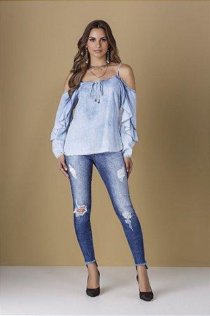 Blusa Jeans com Babados
