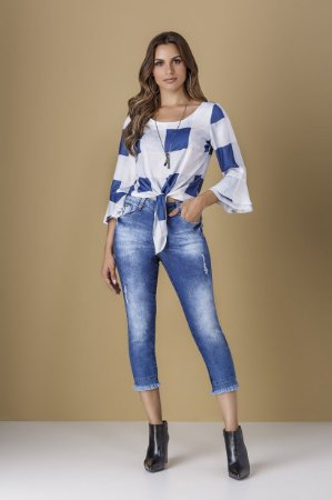 Blusa Maxi Xadrez Azul
