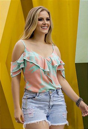 Blusa Estampada com Babados Color