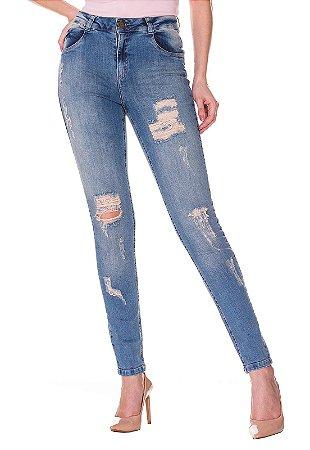Calça jeans com rasgo Rosa K