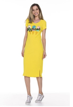 Vestido Midi Refresh amarelo