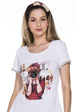 T-shirt Fotografia Moça de Pano