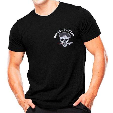 Camiseta Militar Estampada Boinas Pretas