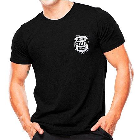 Camiseta Militar Estampada Estado Civil Solteiro