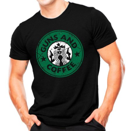 Camiseta Militar Estampada Guns and Coffe