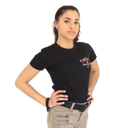Camiseta Feminina Militar Baby Look Estampada SWAT