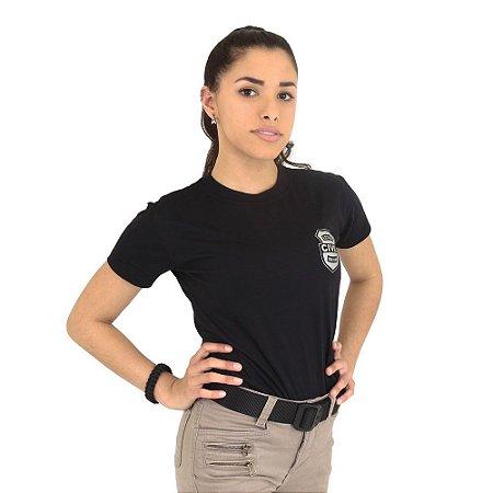Camiseta Feminina Militar Baby Look Estampada Estado Civil Solteira