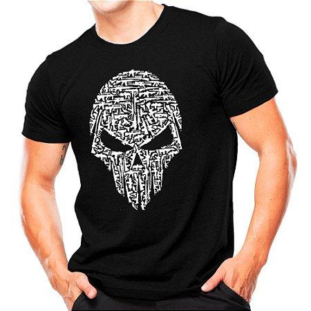 Camiseta Militar Estampada Caveira Armas
