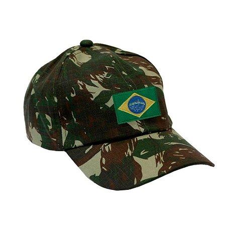 Boné Militar Rip Stop Com Patch Aplicado Bandeira do Brasil | Camuflado Exército Brasileiro