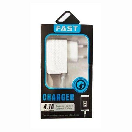 Carregador Smartphone 4.1a Rápido 2 Usb V8 Smartphone