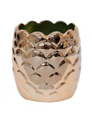 Abacaxi de Porcelana Porta Objetos Bronzeado