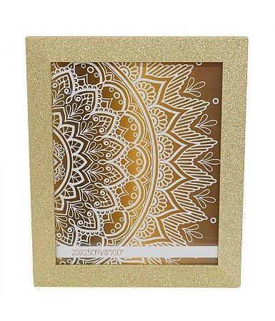 Porta-Retrato 15x20cm Moldura Dourada Purpurina