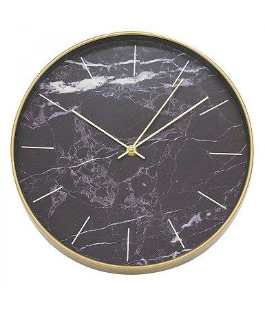 Relógio De Parede Redondo 30x30cm - Mármore Preto