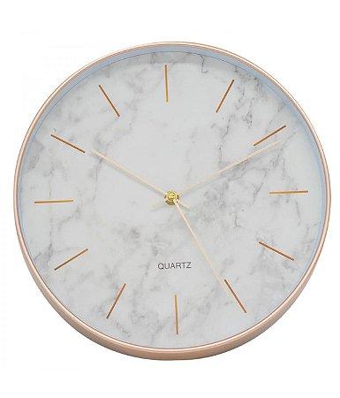Relógio De Parede Redondo 30x30cm - Mármore Branco