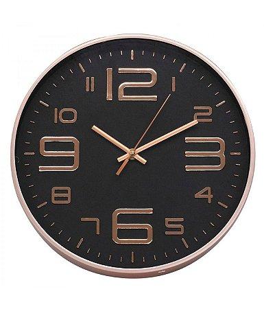 Relógio De Parede Preto E Rose 29.5x29.5cm