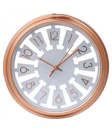 Relógio De Parede Rose Circular Numeração Arábica 33x33cm