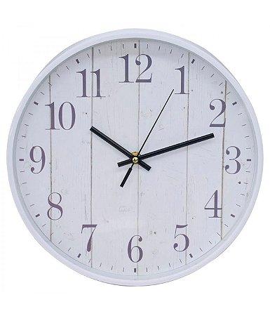 Relógio De Parede Branco Estampa De Parede 27.5x27.5cm