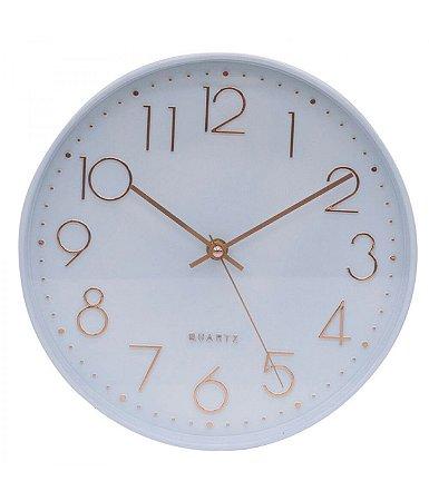 Relógio De Parede Branco Estilo Refinado 25x25cm