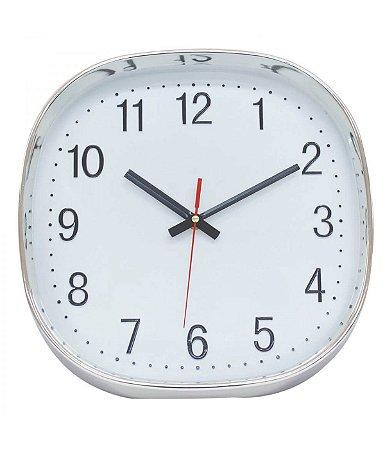 Relógio De Parede Prateado Semi Arredondado 29.5x29.5cm