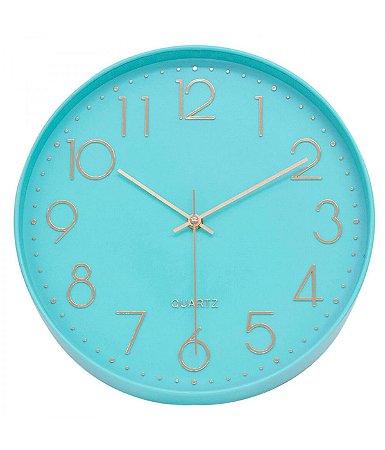 Relógio De Parede Verde Turquesa 30x30cm