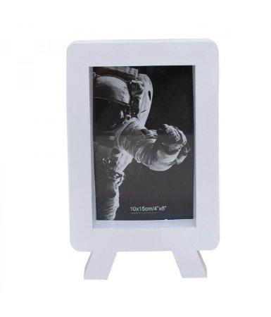 Porta Retrato Plástico Branco 1 Foto 10x15cm