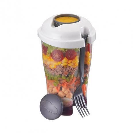 Copo De Salada com Garfo E Reservatório para Molho