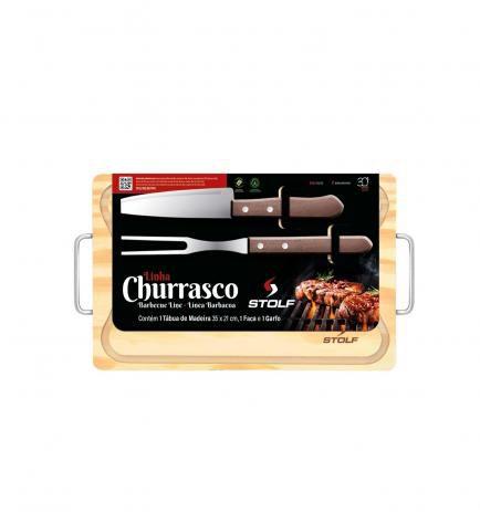 Tábua Churrasco Madeira Com Alça + Faca + Garfo Pinus