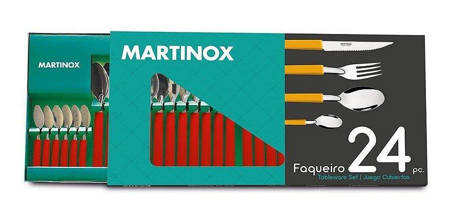Jogo De Talheres Faqueiro Martinox Com 24 Peças Cabo Vermelho