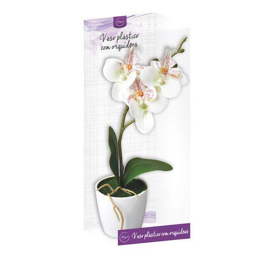 Vaso Plástico Com Flor Orquídea Artificial Decorativo