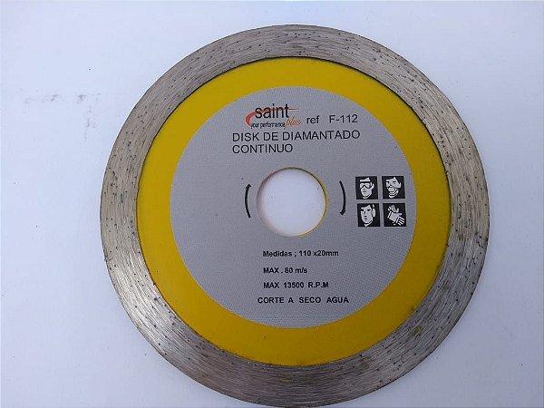 Disco De Corte Diamantado Liso Contínuo 110x20mm Saint