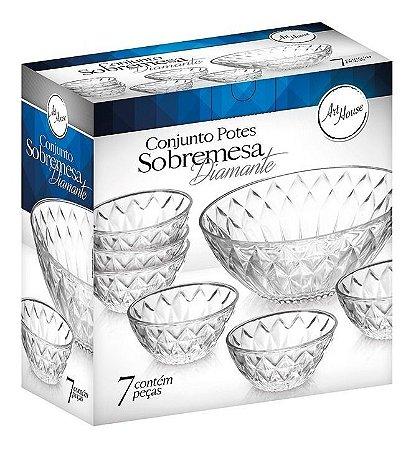Conjunto Pote Sobremesa 7 Peças Vidro Diamante Sorvete Doces
