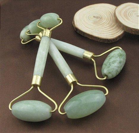 Rolo Massageador Pedra Jade Anti Rugas Rosto Corpo Relax