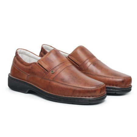 Sapato Masculino De Couro Legítimo Comfort - Ref. 1003S Havana
