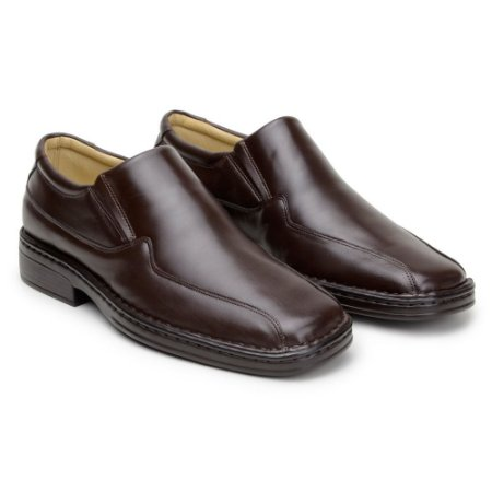 Sapato Masculino De Couro Legitimo Comfort Shoes - Ref. 500 Café