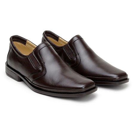 Sapato Masculino De Couro Legitimo Comfort Shoes - Ref. 216 Café