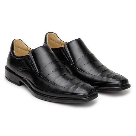 Sapato Masculino De Couro Legitimo Comfort Shoes - Ref. 2050 Preto