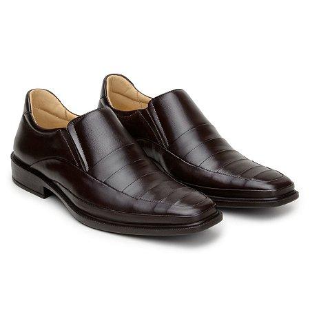 Sapato Masculino De Couro Legitimo Comfort Shoes - Ref. 2050 Café
