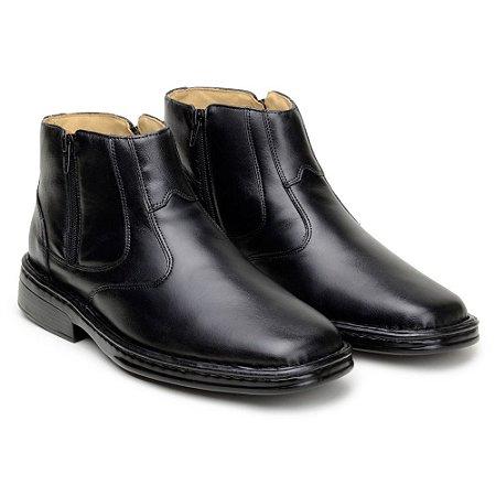 Botina Masculina De Couro Legitimo Comfort Shoes - Ref. 1001 Preto