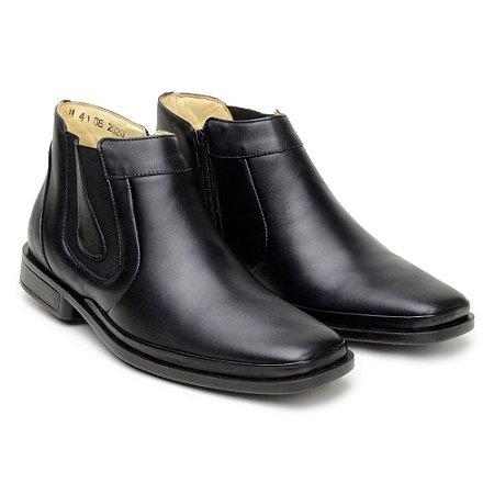 Botina Masculina De Couro Legitimo Comfort Shoes - Ref. 1055 Preta