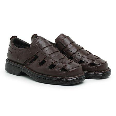 Sandália Masculina Em Couro Legítimo Café - Ref.4002 Comfort Shoes