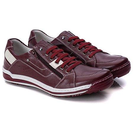 Sapatênis Masculino De Couro Legitimo Comfort Shoes - 3015 Bordo