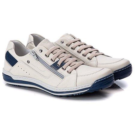 Sapatênis Masculino De Couro Legitimo Comfort Shoes - 3015 Gelo