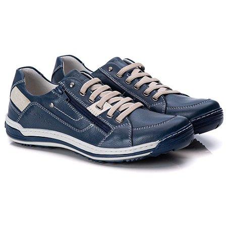 Sapatênis Masculino De Couro Legitimo Comfort Shoes - 3015 Azul
