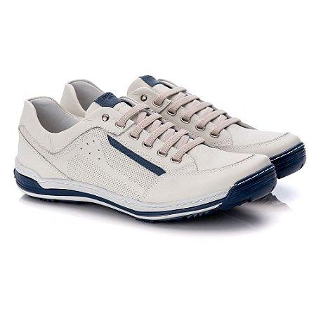 Sapatênis Masculino De Couro Legitimo Comfort Shoes - 3014 Gelo